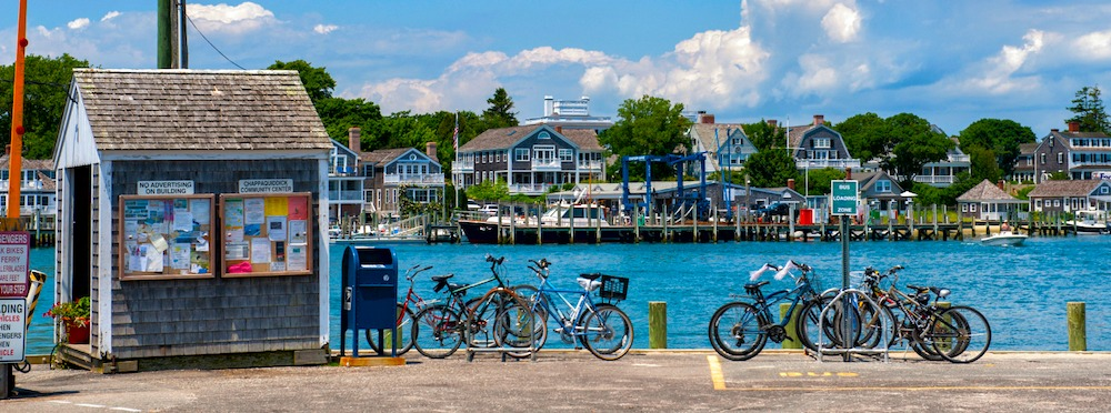 Bikes lined up on Martha's Vineyard harbor