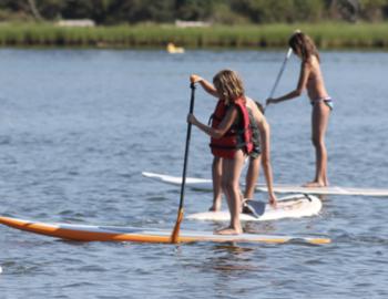 Kids paddleboarding on Martha's Vineyard